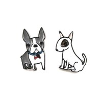 Adorable Boston Terrier and Bull Terrier Shaped Stud Earrings | Animal Jewelry