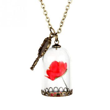 Shop Beauty And The Beast Rose Necklace On Wanelo