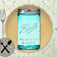 Mason Jar Ball Inspired Blue Green Cute Canning Glass Custom Rubber Tough Phone Case For The iPhone 4 and 4s and iPhone 5 and 5s and 5c