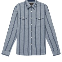 Grey Striped Textured Chambray Shirt
