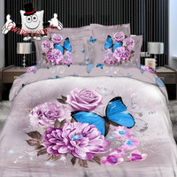 Violet Rose Blue Butterfly Bedding Set and Quilt Cover 7pc