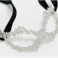 Lyla Flower Cluster Silver Masquerade Mask | Crystal | Silver