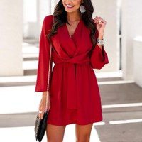 Sexy v neck loose women dress High waist red ladies chiffon dresses casual Flare sleeve elegant office dress female