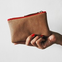 Supermarket: Brown / Tan Mini Leather Clutch Purse from corals & nuts