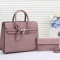 Hermes Women Fashion Leather Tote Shoulder Bag Satchel