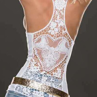 Causal Lace Back Tank Top