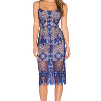 BCBGMAXAZRIA Sheer Lace Dress in Orient Blue Combo