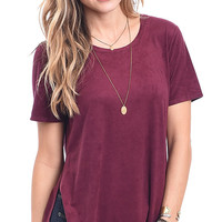 Divine in Wine Faux Suede Top