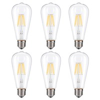 Dimmable Edison LED Bulb, Soft Warm White 2700K, Kohree 6W Vintage LED Filament Light Bulb, 60W Incandescent Equivalent, E26 Medium Base Lamp for Restaurant,Home,Reading Room, 6-Pack(NOT Daylight)