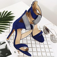 Fashion women's shoes with open toe zipper and high heel sandals