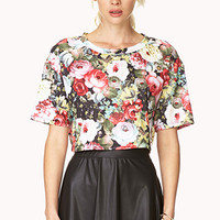 FOREVER 21 Rich Roses Crop Top Black/Red