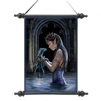 Beautiful Elven Maiden Water Dragon Scroll Tapestry Gothic Wall Hanging