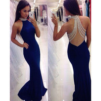2016 Navy Blue Mermaid Prom Dresses with Halter Sexy See Through Back Beaded Sequins Long Prom Party Gowns robe bal de promo