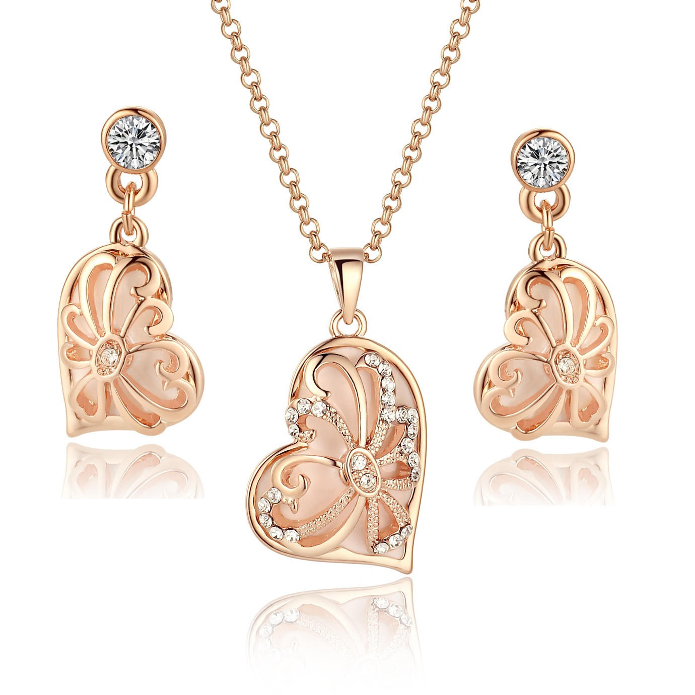 Asymmetrical Pendant Necklace and Earrings Set