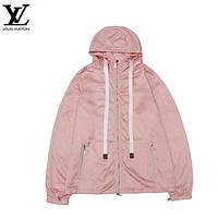 LV New fashion monogram print hooded long sleeve top coat windbreaker Pink