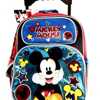 "New Mickey Mouse Small Toddler 12"" Rolling Backpack-Shine Blue"