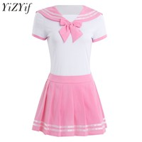 YiZYiF Women Sexy Cosplay lingerie schoolgirl Student Uniform Snap Crotch Romper with Mini Skirt anime Role Play Costume Suit