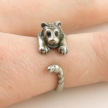 Animal Wrap Ring - Tiger - White Bronze - Adjustable Ring - keja jewelry