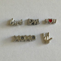 Floating charms for living memory lockets -love script, LOVE, I love you, oxox, ASL I love you hand - Valentine's Day