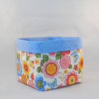 Lovely Floral and Blue Fabric Basket For Storage Or Gift Giving