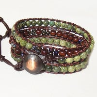 Leather Wrap Bracelet Serpentine  Beaded Bracelet Triple Wrap Leather Bracelet for Women Leather Jewelry Christmas Gifts Gift for her