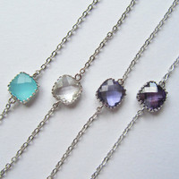 Personalized Bracelets, Choose your color-Mint, Crystal, Tanzanite, Amethyst connectors on a silver plated chain, Bridesmaids