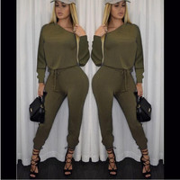 Army Green Long Sleeve Shirt with Drawstring Waist Pants