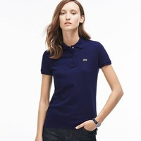 Lacoste Women Casual Lapel Short Sleeve Shirt Top Tee