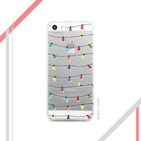 Christmas Lights iPhone Case - Clear iPhone Case with Design - Available for all iPhone Models ; iPhone 4s, 5s, 5c, 6s, 6 Plus