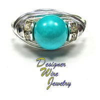 DWJ0151 Stunning Turquoise and Silver Wire Wrap Ring All Sizes