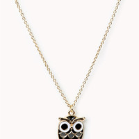 Lacquered Owl Charm Necklace