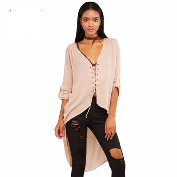 Semi-sheer Asymmetrical Casual  Front Lace-up Top