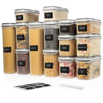 LARGE SET 28 pc Airtight Food Storage Containers with Lids (14 Container Set) Airtight Plastic Dry Food Space Saver Boxes, One Lid Fits All - Stackable Freezer Refrigerator kitchen Storage Containers 14 Set