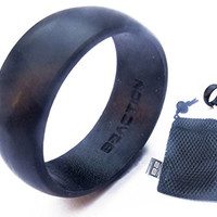 Genuine B2ACTION (TM) Men's Silicone Wedding Ring. Premium Series Rubber Wedding Band With Exclusive Gift Mesh Bag. Black