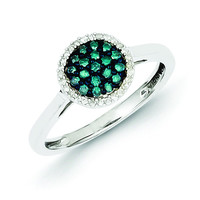 Sterling Silver Blue & White Diamond Round Ring