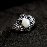 Opal Ring: Sterling Silver, October birthstone, iridescent 7x5 oval