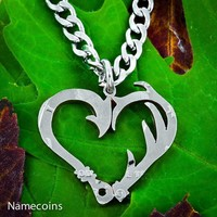 Fish Hook and Antler heart necklace set, Hand Cut Coin