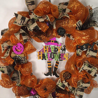 Witch Wreath- Happy Halloween Wreath- Halloween Wreath- Halloween Decor- Front Door- Home Decor- Halloween Party-  Door Loop- Spooky Door