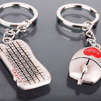 One Pair of Valentine's Day Lover Gift Keychain Mouse Keyboard Couple Keyrings = 1930333316