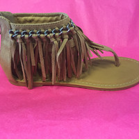 Flirting With Fringe Sandals - Tan