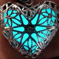 Steampunk Fairy Magical Fairy Glow in the Dark Necklace-aqua-sil by UmbrellaLaboratory