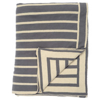 Charcoal Gray Beach Stripes Reversible Patterned Throw