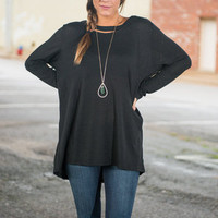 Simple And Free Top, Black