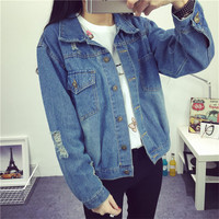 Casual boyfriend denim jacket women 2016 spring coat long sleeve ripped turn-down collar ladies jeans jackets plus size KM1444