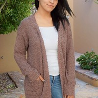 Charm Me Mocha Chunky Knit Long Open Cardigan Sweater