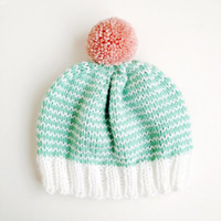 The Stripe-A-Thon Hat in Mint, Bubblegum Pink, White - MADE TO ORDER