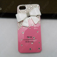 iphone 5 case white bow and pink case butterfly   iphone 4 case iphone 4s case 3D iphone 5 cases