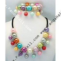 """Wholesale Acrylic Jewelry Sets, Bracelets And Necklaces, Colorful, Size: Jewelry Sets: Necklaces: About 19"""" Long; Bracelets: About 55mm Inner Diameter"""