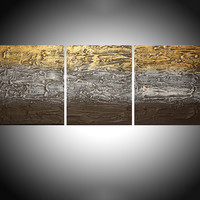 "ARTFINDER: ""Metallic Mystery 2"" triptych 3 panel wall art colorful neutral metallic gold creamimages effect 3 panel wall abstract canvas abstraction extra large 72 x 36"" by Stuart Wright - ""Metallic Mystery 2""   in cream gold and brown,..."