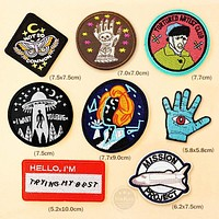 Skull FIGHT Mushroom Patch Badge Embroidered Cute Badges Hippie Iron On Kids Cartoon For Clothes Stickers